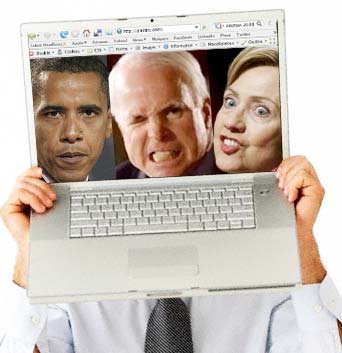 Presidential candidates in a laptop