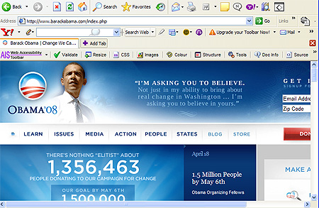Barack Obama\'s website at 800 by 600 screen