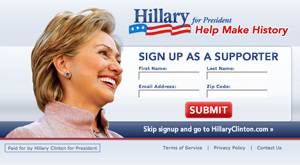 Capture of the Hillary Clinton Website