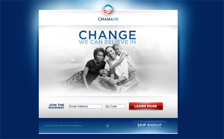 Sen. Barack Obama\'s homepage