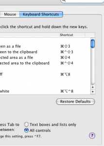 Screenshot of Apple System Preferences, Keyboard and Mouse, Keyboard Shortcuts dialog box, choose All Controlls radio button