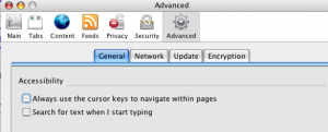 Screenshot of Firefox Advanced, General Accessibility dialog box Always use the cursor option