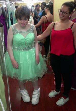 Siobhan And Lauren In A Pale Green Dress With Sparkly Waist Sheer