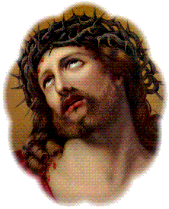 portrait of jesus looking up towards crown of thorns on head